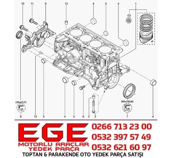 MOTOR BLOGU  MEGANE CLIO  KANGO DİK DELİK BLOK  R19 1.6 8V K7J K7M BLOK 110108138R